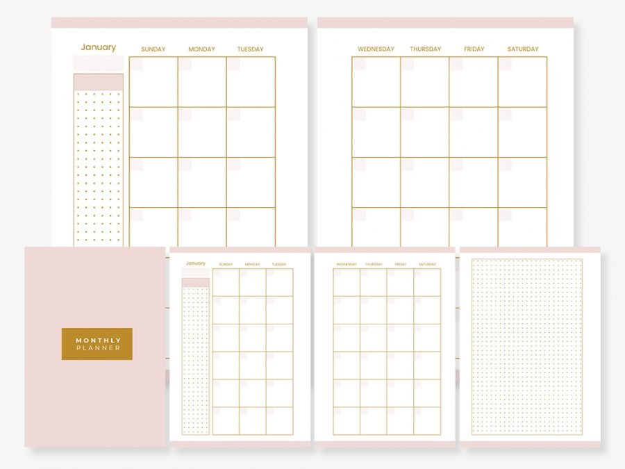 Pink & Gold - Monthly Planner